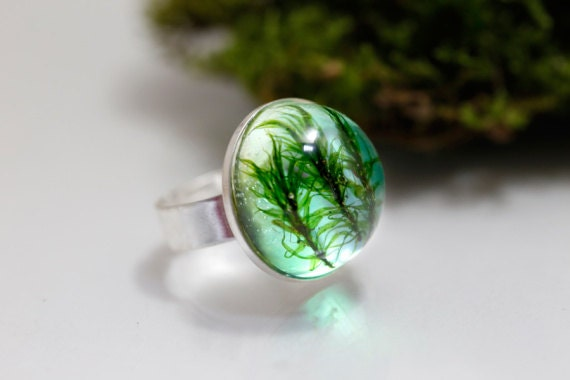 Natural Moss Ring of the Forest: green real moss lichen pendant resin nature inspired unique forest woodland botanical