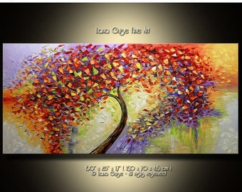 SALE 20% off Euphory ORIGINAL ABSTRACT Tree Oil Painting Modern Textured Palette Knife by Lana Guise