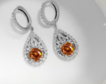 3.81ct Genuine Natural Orange Zircon And Diamond Earrings In 14K White Gold