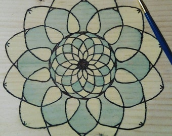 Colored Mandala Wood Burning - Pyrography