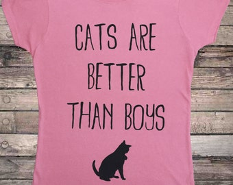 Cats Are Better Than Boys Cute Cat T-Shirt
