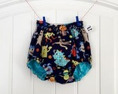 Little Monster Mash Reversible Geometric Baby Bloomer Diaper Cover Birthday Cake Smash Outfit 12-18 & 18-24 Month