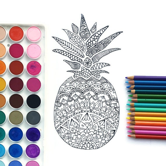 Downloadable coloring page Pineapple