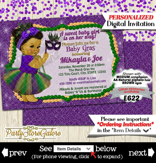girls baby shower invitations mardi gras green purple tutu
