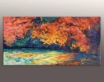 Landscape Oil Painting, Contemporary Wall Art, Living Room Decor, Large Landscape Painting, Modern Painting, Abstract Painting, Canvas Art