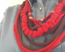 Knotted fabric t-shirt necklace  soft huge scarf RED and BROWN with LOVE charms