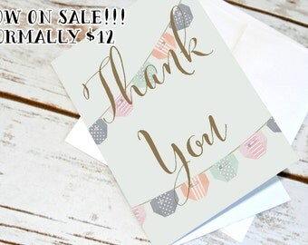 Gender Neutral Baby Shower Thank You Cards. Baby Thank Yous. Diaper Garland Design
