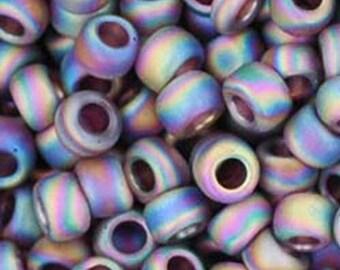 Toho 8/0 Transparent Rainbow Frosted Amethyst Round 8-166CF Tube