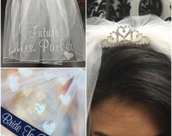 TIARA VEIL and SASH, Bachelorette Veil, Personalized Veil, Bride to Be Veil, Bachelorette Party