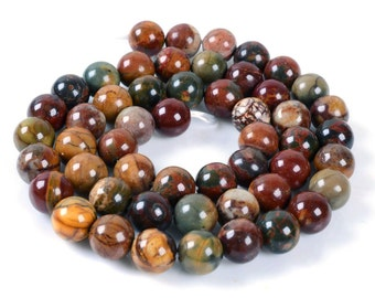 8MM61 Multi-color picasso jasper round ball loose gemstone beads 16""