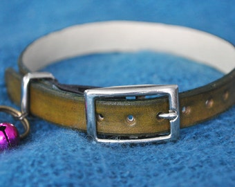 Monty Selection Mid Green Leather Cat Collar XL (22cm - 27cm)