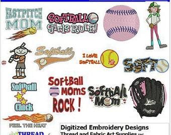Embroidery Design CD - Softball(1) - 14 Designs - 9 Formats - Threadart