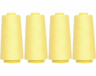 4 Big Cones Lemon Serger Sewing Thread 2750 Yd Tex 27 40s2 - Threadart