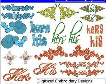 Embroidery Design CD - His Hers(1) - 22 Designs - 9 Formats - Threadart