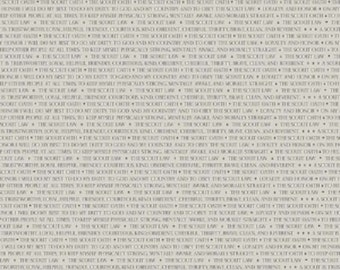 Riley Blake Fabrics - Modern Scouting Words C6203 Offwhite - Quilt, Quilting, Clothing, Crafts