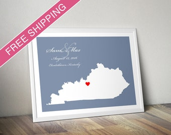 Personalized Kentucky Wedding Gift : Custom Wedding Location and State Map Print - Wedding Guest Book Poster