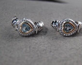 Vintage Sterling Silver w/Gold Accents Blue Topaz Half Hoop Earrings~~    **RL