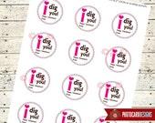 Valentine Tag | I Dig You Valentine Class Tag | Print file PDF | Digital | School | Class | Shovel | Valentines Card | INSTANT DOWNLOAD