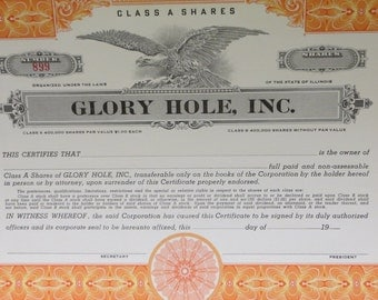 Authentic 1950's Glory Hole Inc. Unissued Stock Certificate - Free Shipping