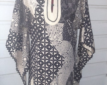 Beautiful black and white caftan dress. Jody of California.