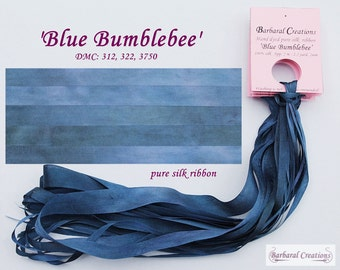 Hand dyed 7 mm wide pure silk ribbon, soie ruban - 'Blue Bumblebee'