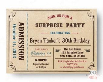 Adult Surprise Birthday Invite - Admit One Ticket Birthday Invitation (Printable) Admit One Invitation - Surprise Birthday Party Invitations