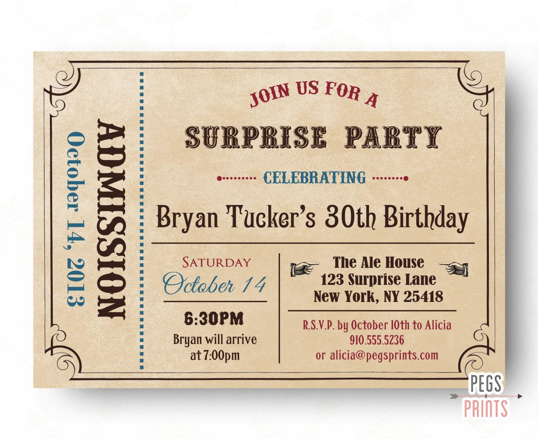 Adult Surprise Birthday Invite Admit One Ticket Birthday