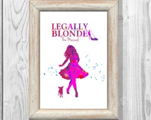 Legally Blonde Poster  Watercolor Print Kids Decor Giclee Wall Illustrations Art Print  Wall Decor Home Decor Instant Digital Download