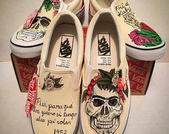 Custom design Slippers Frida Kahlo vans, hand-painted skull flowers, jungle, nature, Mexican art Converse Vans