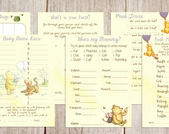 Printable Winnie the Pooh Baby Shower Game Package, Classic Winnie the Pooh, Baby Shower Game