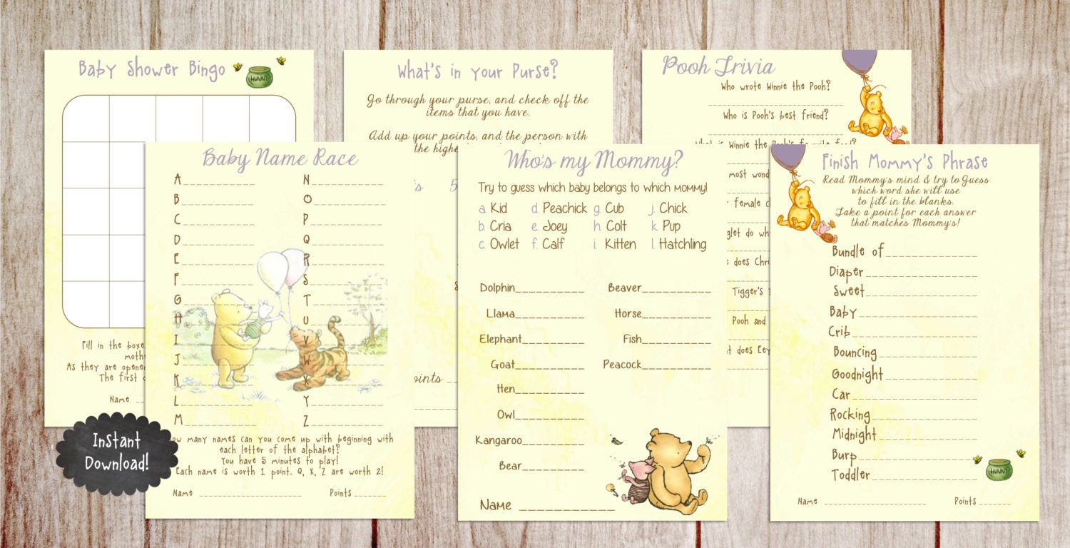 printable winnie the pooh baby shower game package classic