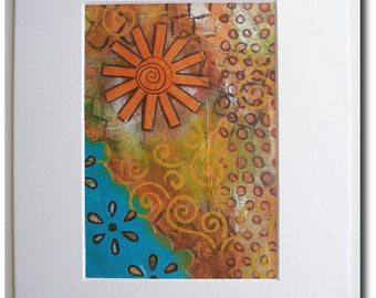 Mixed Media Matted Print - Sunshine