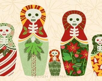 Skelly Art Print: Skelly Nesting Dolls