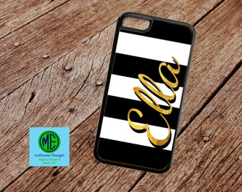 Black and Gold Custom Cell Phone. Classy Gold Personalized Cell Phone Case. iPhone, iPod, Samsung custom cases. Custom Gifts. Personalized