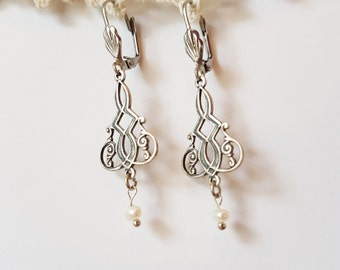 Intricate Pearl Art Nouveau Drop Earrings - silver plated filigree natural freshwater pearl bridal