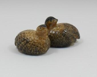 Miniature Brown Quails Partidges, Made in Japan 1960s-1970s, Set of 2, Fairy Garden Retro Quail, Partridge Family, Totem Bird Quail