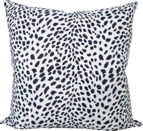 Animal Print-Designer Decorative Pillow Cover-Navy/White