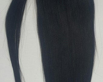 18inches 100% Human Hair, Wrap Around Ponytail Hair Extensions # 1 Jet Black