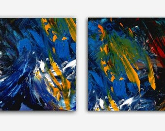 "Diptych Contemporary  wallART, 2 piece colorful Abstract Painting, Acrylic on Canvas,House Warming Gift Wall Decor Gift  ""BLUE DUO"""