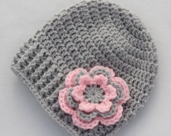 Grey and pink baby hat, crochet baby hat, baby girl hat, silver grey and pale pink, girl hat, infant hat, winter beanie - MADE TO ORDER