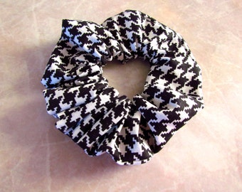 Black & White Hounds Tooth Handmade Hair Scrunchie 100% Cotton