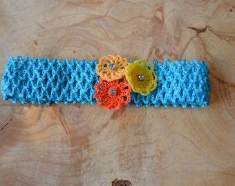 Blue, Yellow, Peach, Orange, Flower Baby Headband