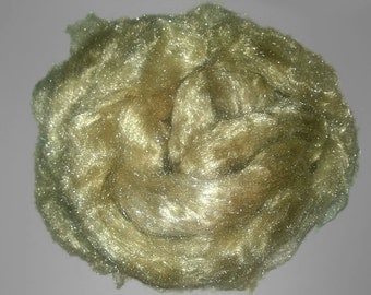 Firestar Hand painted Roving - sage green - spinning felting fiber fibre sparkle crafts papermaking doll hair moss green pastel