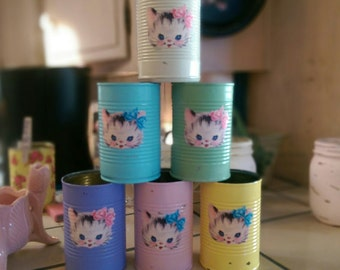 6 BETSY the KITTY CAT Retro Vintage Kitten Shabby Chic Painted Cans Kitschy .. Pink Ivory Blue Yellow Green Lavender .. Centerpiece Vases ..
