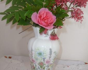 "Beautiful Large Aynsley Vase ""Wild Tudor"" Floral Pattern"