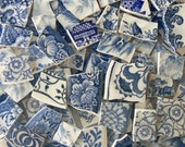 Blue & White Antique China Mix Plate Mosaic Tiles Toile Willow Floral Set of 100+ Rare Pieces!