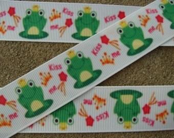 """Frog Ribbon Princess and a frog Printed Ribbon 7/8"""" Grog princess Printed Ribbon hair bow ribbon hair bow supplies"""