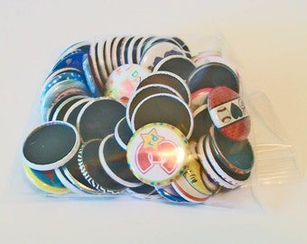 50 Piece Grab Bag Anything and Everything Assorted Designs 1 Inch Flat Back Embellishments Buttons Flair