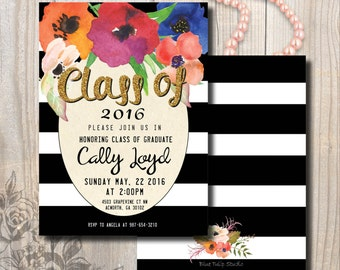 Graduation Invitation, Graduation Party Announcement, Floral Double-Sided, Stripes and Gold Glitter, Watercolor flowers