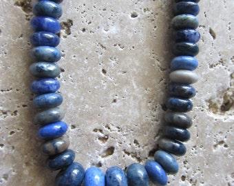 Blue Dumortierite graduated Rondelle beads